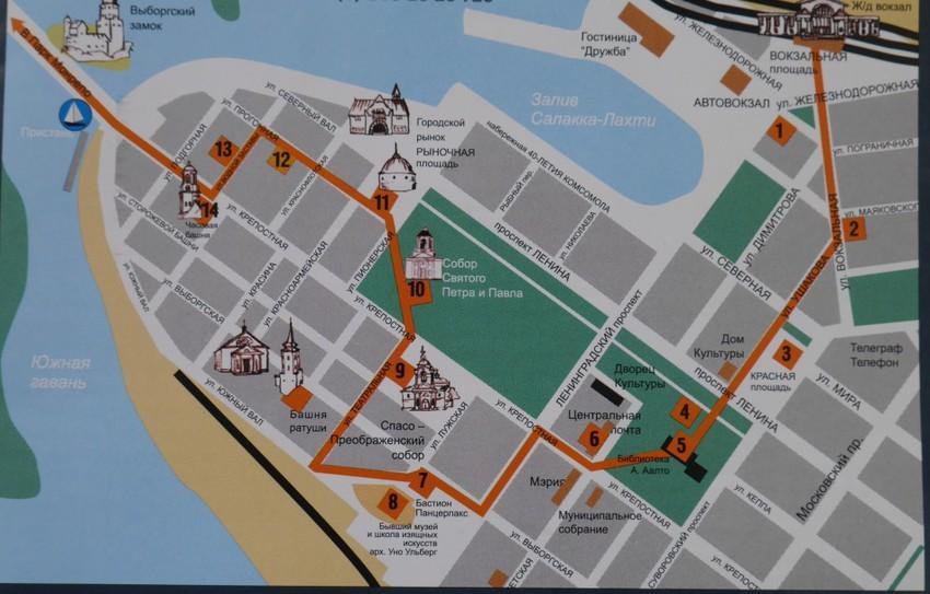 Карта с достопримечательностями Выборга