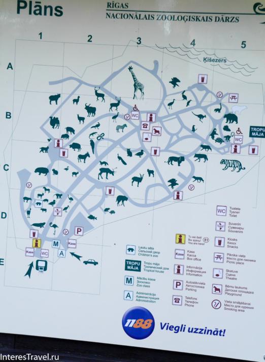 Карта зоопарка в Риге